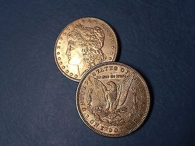 2 (TWO) random date Morgan silver dollars, XF - AU   smart SILVER INVESTMENT