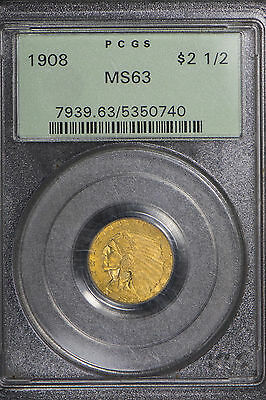 1908 $2.5 Gold Indian Head Quarter Eagle ** Pcgs Certified Ms 63