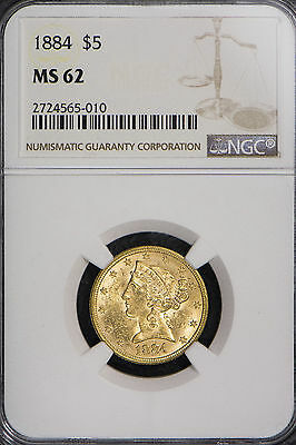 1884 $5 Gold Liberty Head Half Eagle ** Ngc Certified Ms 62