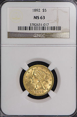 1892 $5 Gold Liberty Head Half Eagle ** Ngc Certified Ms 63