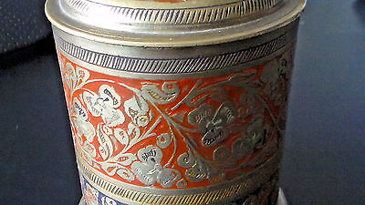 Old Antique India Brass Hand Carved Floral Tobacco Box, Beautiful Condition