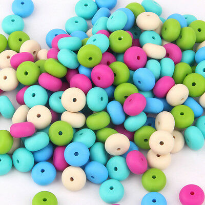 50Pcs Rondelle Silicone Beads Teething Bracelet Baby Chew Teether Jewelry Making