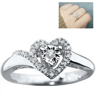 .925 Sterling Silver Love Heart White Micro Pave Ladies Promise Ring Womens Band