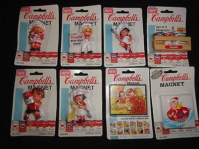 Lot Of 8 VINTAGE CAMPBELL SOUP Tomato FRIDGE MAGNETS New old Stock NOS