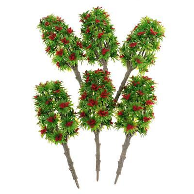 6pcs 1:64 Painted Model Tree w/ Red Flower DIY Railway Landscape Accessories