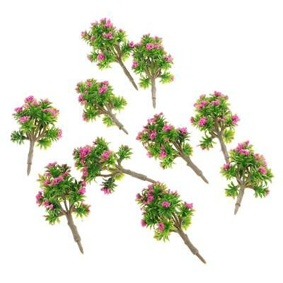 10pcs 1:200 Trees Model Rose Red Flower Building Park Garden Scenery 7cm DIY