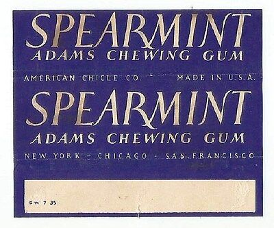 <!!!!!RARE!!!!!> Vtg 1935 American Chicle Adams Chewing Gum Wrapper Spearmint