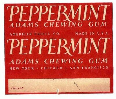 <!!!!!RARE!!!!!> Vtg 1937 American Chicle Adams Chewing Gum Wrapper Peppermint