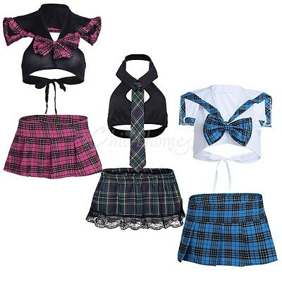 Women School girl Lingerie Fancy Uniform Cosplay Costume Tops Plaid Skirts Dress