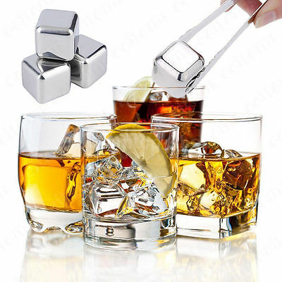 4Pcs Stainless Steel Whisky Wine Ice Stone Drinks Cooler Cubes Whiskey Scotch AU