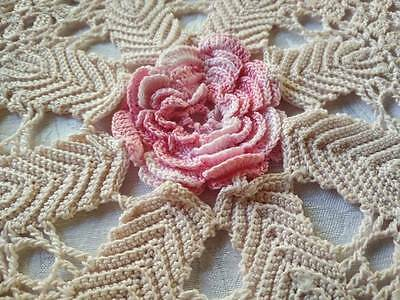Raised Pink Rose - Vintage pale pink Hand crochet Doily