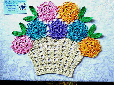 RETRO Colourful Flower Basket-Vintage Hand crochet Centrepiece- 2 available