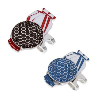 Set of 2 Magnetic Golf Hat Clip and Ball Marker Golf Bag Pattern Blue + Red