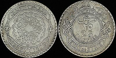 SYRIA Syrie 25 piastres, 1937, KM# 73, Scarce Silver coin