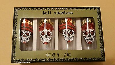 Sugar Skulls Rare Day of the Dead Mexican Tall Shot Glass set of 4 NEW