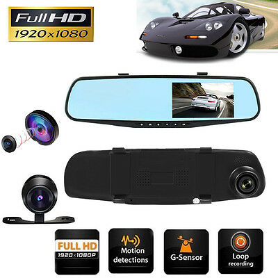 "4.3"" 1080P HD Car DVR Mirror Camera Video Recorder Front Rear Dual Lens Dash Cam"