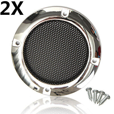 2X 2'' inch Silver Circle Round Mesh Woofer Speaker Protective Grille W/4 Screws