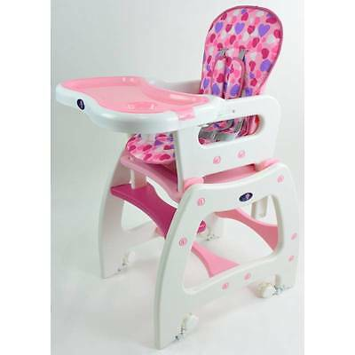 4-in-1 Adjustable Baby Dining High Chair Set Pink