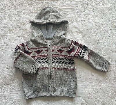 Pumpkin Patch, Baby Boy Grey Knitted Hoodie, Size 12-18 months