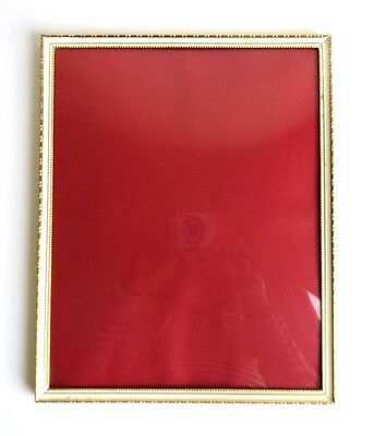 Large Vintage Denmark / Danish  Brass Picture Photo Frame w Convex Glass