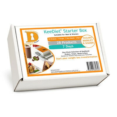 KeeDiet Starter Diet Box 28 VLCD Meal Replacement Weight Loss Shakes Bars & More