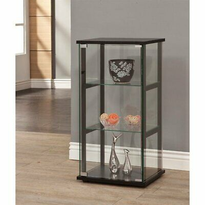 Coaster 3 Shelf Glass Curio Cabinet in Black