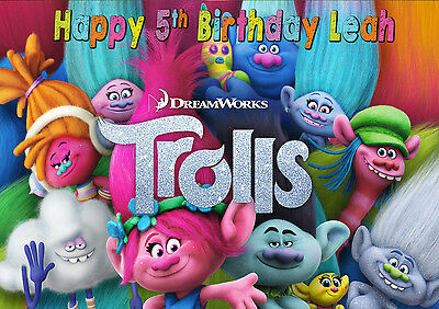 Trolls Birthday Party Welcome Sign Poster personalised table decoration Poppy