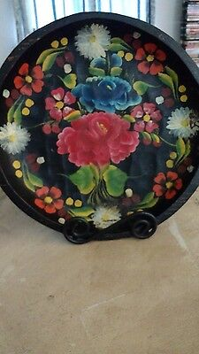 VTG Mexican Hand Painted Floral Tole Tray Bowl