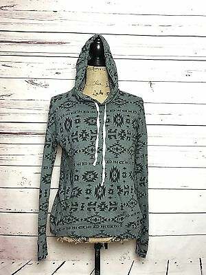 Women's Hollister Aztec Gray Black Print Hoodie Pull Over Jacket Size XS A