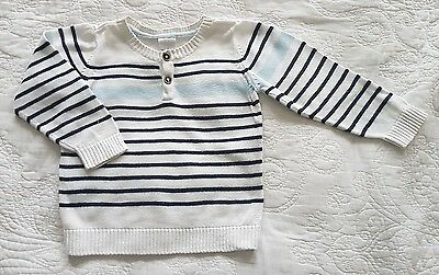Target, Boys White and Blue Striped Knitted Jumper, Size 18-24 months