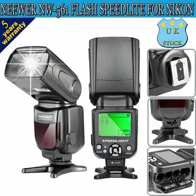 Flash Speedlite Speedlight With LCD Display For Nikon Canon Fashgun Camera UK