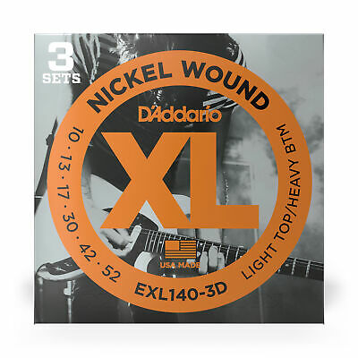 3 Sets of D'Addario EXL140 Nickel Wound Electric Guitar Strings (10-52)