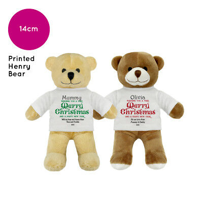 Personalised Name Christmas Henry Teddy Bear Stocking Fillers Kids Boys Girls