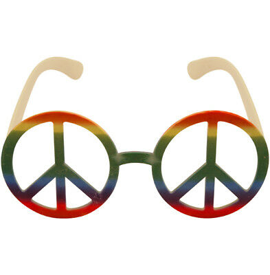 Rainbow Hippie Peace Sign Round Glasses Fancy Dress Accessory