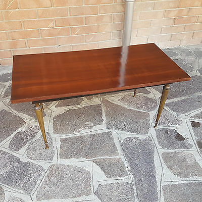 "Low Living Room Table Italian From 1960 ""smoke Table"" Brass Base"