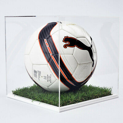 Perspex Football Display Case - 10mm White Grass Effect Base