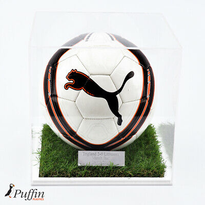 Acrylic Football Display Case - 10mm White Grass Effect Base