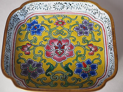 Antique Chinese Enamel on Copper Famille Jaune Floral Pin Tray Candy Dish Plate