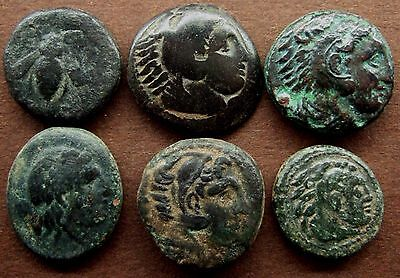 Ancient Greek; Lot of 6 AE coins; various types 3rd -2nd Century BC.