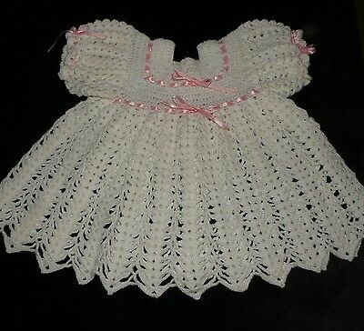 Gorgeous Vintage Handmade Crocheted Baby Dress White Pink Ribbon Size Adjustable