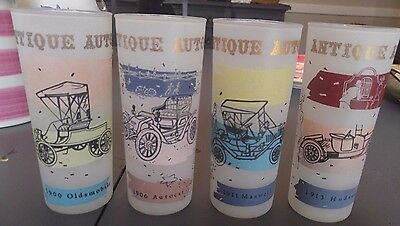 Set 4 Vintage Antique Autos Frosted Drinking Glasses Tumblers Cars Oldsmobile