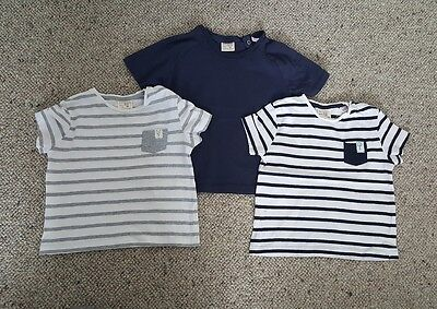 Zara baby boys bundle of grey, navy and white summer T shirts, 18-24 months