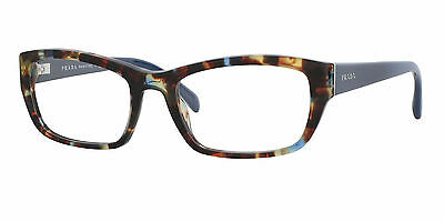 $470 Prada Womens Blue Brown Eyeglasses Framed Glasses Optical Lenses Italy Vpr