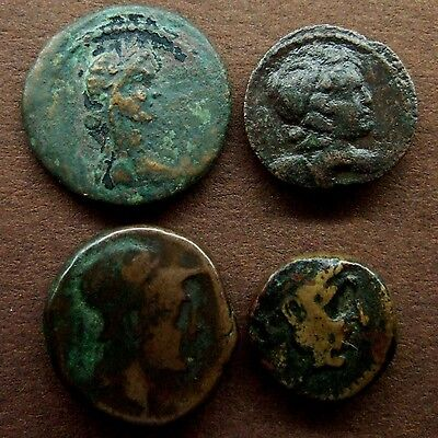 Ancient Greek Coins. Lot of 4 Copper Bronze AE