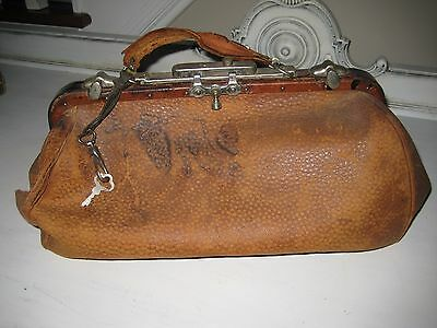Vintage Early 1900's  Leather Doctors Bag Lockable With Key