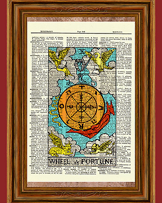 """Tarot Cards """"Wheel of Fortune"""" Major Arcana Deck Dictionary Art Print Picture"""