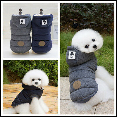 Small Pet Dog Coat Warm Soft Hoodie Vest Jacket Cotton Padded Sweater Clothes