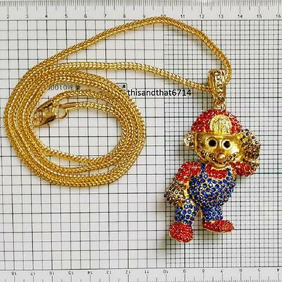 """Hip Hop Iced Out Mario Bros Necklace With 36"""" Franco Chain-Gold or Silver"""