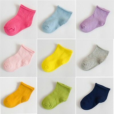 For Age 1-4 Years Solid Color Baby Toddlers Kids Children Cotton Socks
