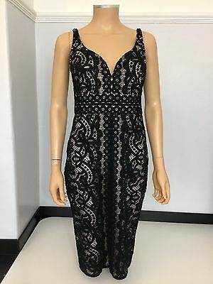 Lover The Label Designer Black Lace Dress Cocktail Size Uk 10